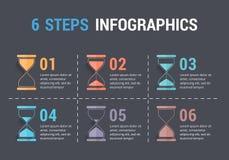 6 pasos Infographics con reloj de arena Imagenes de archivo
