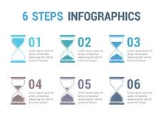 6 pasos Infographics con reloj de arena Stock de ilustración