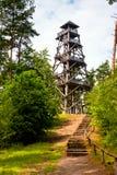 Pasos a la torre de madera en bosque Imagenes de archivo