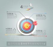 Pasos para apuntar las 4 opciones infographic, plantilla infographic del concepto del negocio Fotos de archivo