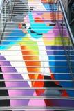 Pasos pintados en los Docklands, Victoria imagenes de archivo