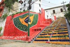 Pasos tejados en el lapa en Rio de Janeiro Brazil Foto de archivo