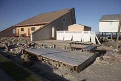 Pasos y cubiertas dañados durante el huracán Matthew fotografía de archivo