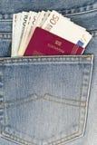 Paspoort en geld in de zak Stock Fotografie