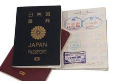 Paspoort en visumimmigratiezegels Royalty-vrije Stock Foto