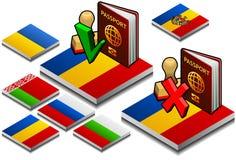 paspoort en zegel op de knoopvlag royalty-vrije illustratie