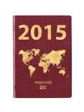 Paspoort 2015 met een wereldkaart Royalty-vrije Stock Afbeeldingen