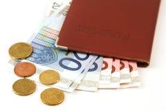 Paspoort met geld Stock Foto