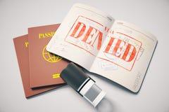 Paspoort met ontkend visum Stock Afbeelding