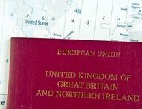 Paspoort op Kaart Royalty-vrije Stock Fotografie
