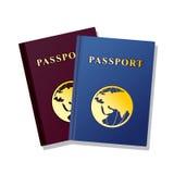 Paspoort op witte achtergrond wordt geïsoleerd die stock illustratie
