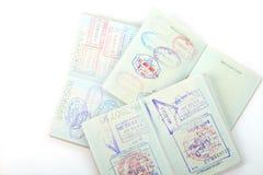 Paspoort, visum, zegels. Stock Afbeelding