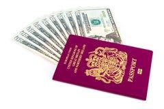 Paspoortcontant geld Stock Afbeeldingen