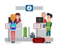 Paspoortcontrole in Luchthaven Vectorillustratie stock illustratie