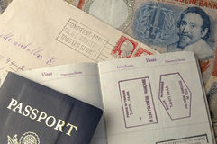 Pasport & Money. Passport with money and letter Royalty Free Stock Photo