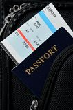 Pasport in suitcase Stock Images