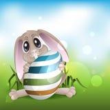 Pasqua Bunny With Colorful Egg. royalty illustrazione gratis