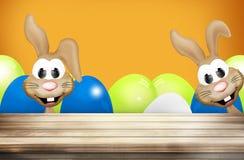 Pasqua Bunny Easter Eggs Wood Fotografia Stock Libera da Diritti