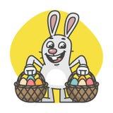 Pasqua Bunny Holds Two Baskets con le uova Fotografia Stock
