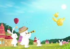 Pasqua, caccia dell'uovo, coniglietto che guarda al volo dorato dell'uovo sul campo di erba nel giardino della natura, fumetto di illustrazione vettoriale