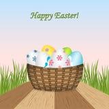 pasqua Cartolina d'auguri del modello di vettore della primavera con le uova realistiche illustrazione di stock