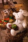Pasqua, coniglio, fieno, coniglietto di pasqua, Pasqua decorante, uova, uova di Pasqua, canestro, coniglietto, coniglio,  Ñ… а  Immagine Stock Libera da Diritti