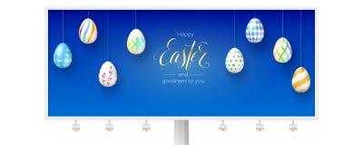 Pasqua e qualità felici a voi Tabellone per le affissioni con i saluti festivi isolato su fondo bianco calligraphic illustrazione vettoriale