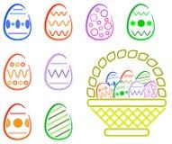 Pasqua Eggas e cestino Fotografia Stock Libera da Diritti