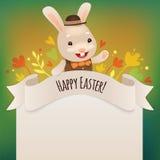 Pasqua felice Bunny Greeting Card Fotografia Stock Libera da Diritti