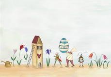 Pasqua felice Cartolina d'auguri Fotografie Stock