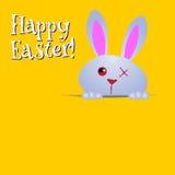 Pasqua felice! Cartolina d'auguri, coniglietto divertente Immagine Stock