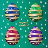 Pasqua felice! Cartolina d'auguri, modello dorato delle uova Fotografia Stock