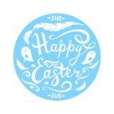 Pasqua felice che segna con gli uccelli, le erbe e le piume nel cerchio isolato su fondo bianco illustrazione vettoriale