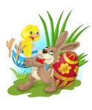 Pasqua felice con il pollo ed il coniglietto Immagine Stock