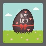 Pasqua felice con l'uovo di cioccolato Fotografie Stock Libere da Diritti