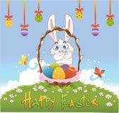 Pasqua felice con le uova ed il coniglio Illustrazione di vettore Fotografia Stock