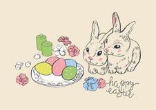 Pasqua felice Coniglietto ed uova della lepre del coniglio Uova dipinte d'attaccatura Cartolina d'auguri canestro di vimini con l illustrazione di stock