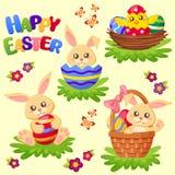 Pasqua felice Coniglietto, pollo ed uova svegli Insieme di vettore Fotografie Stock