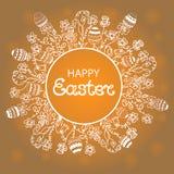 Pasqua felice Corona con i fiori, le erbe e le uova Immagine Stock