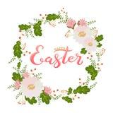 Pasqua felice in corona del fiore Fotografia Stock