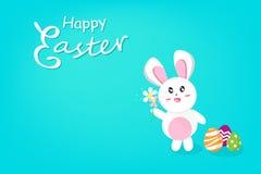 Pasqua felice, fiore sveglio della tenuta del coniglio con l'immaginazione dell'uovo, festa di stagione di calligrafia, cartolina illustrazione di stock