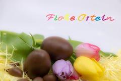 Pasqua felice Frohe Ostern è Pasqua felice scritta molto in variopinto tedesco per celebrare Pasqua immagine stock