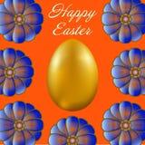 Pasqua felice isolata su fondo arancio illustrazione vettoriale