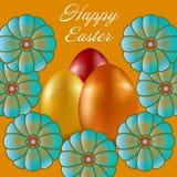 Pasqua felice isolata su fondo dorato illustrazione di stock