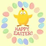 Pasqua felice Piccolo pollo giallo sveglio in una corona delle uova di Pasqua illustrazione di stock