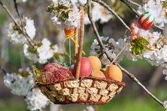 Pasqua felice Uova di Pasqua Variopinte in un cestino fotografie stock libere da diritti