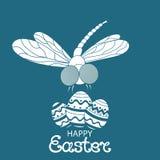 Pasqua felice Uova Paschal Libellula Progettazione delle cartoline d'auguri, inviti, alette di filatoio Fotografia Stock Libera da Diritti