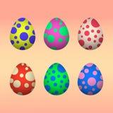 Pasqua ha colorato le uova messe Immagini Stock Libere da Diritti