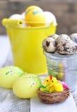 Pasqua, le uova di Pasqua in un secchio su una tavola di legno Fotografie Stock Libere da Diritti