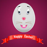 Pasqua molto felice, uovo del coniglietto di pasqua con il vettore rosso eps10 del nastro illustrazione vettoriale